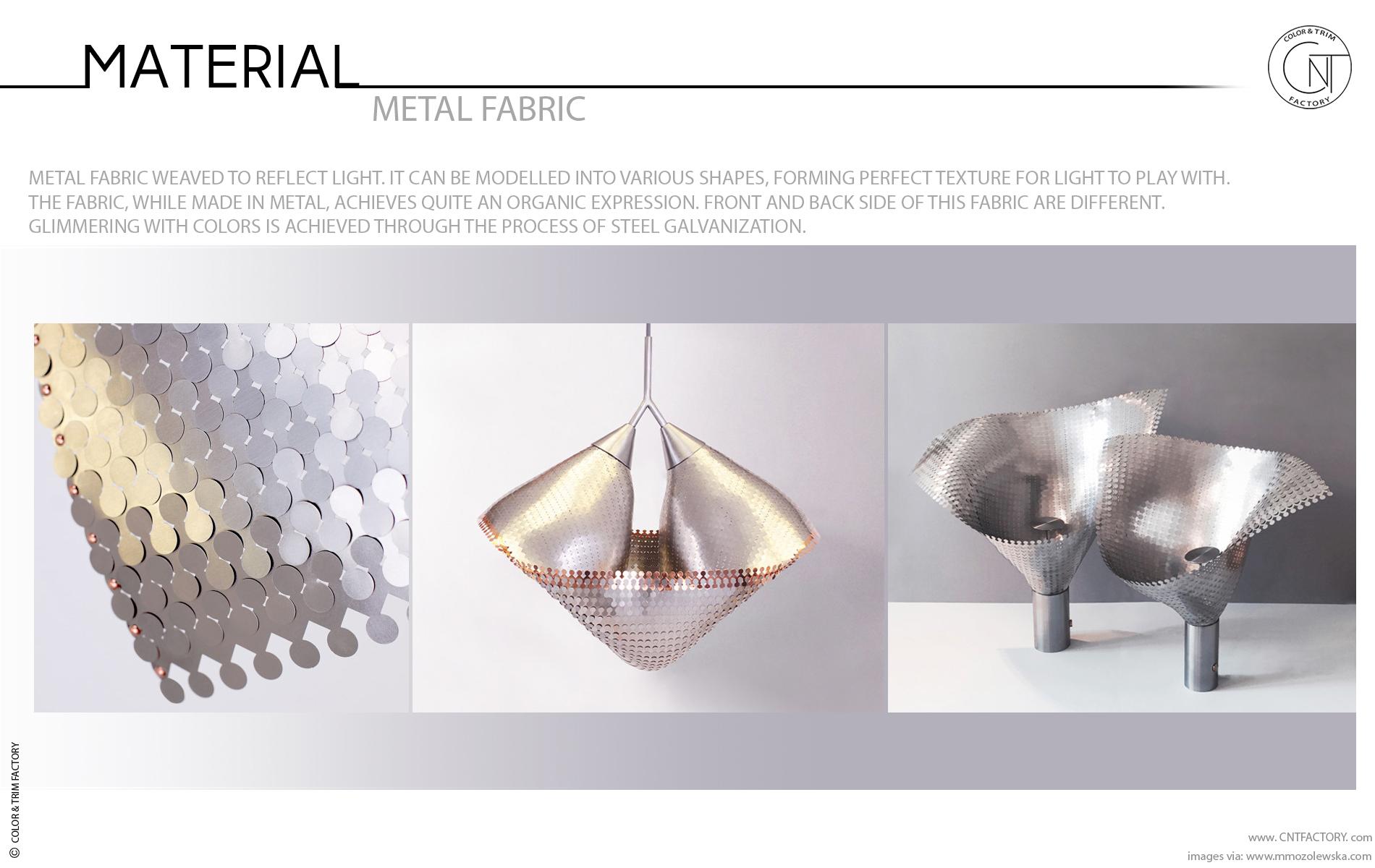 Galvanized metal fabric automotive color trim design