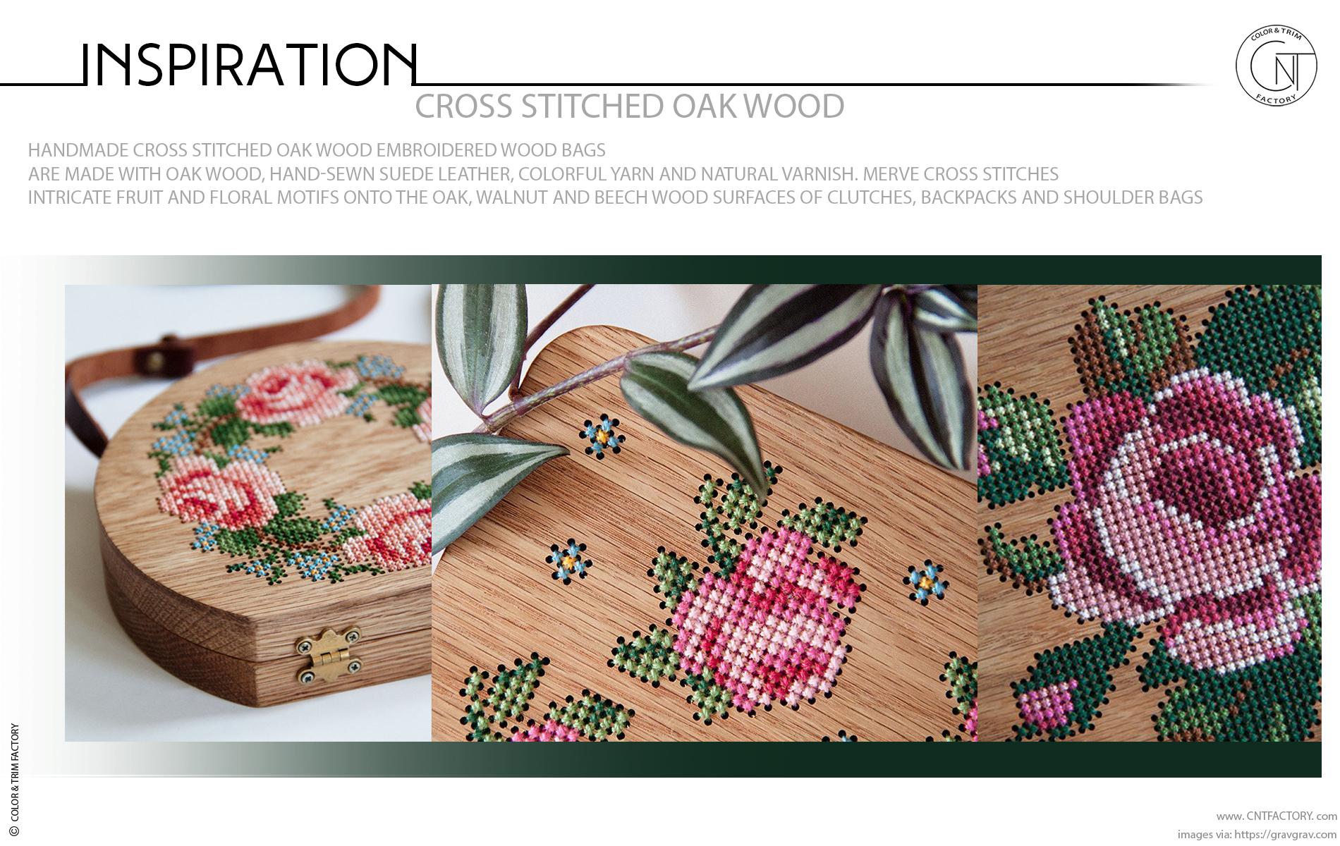 Handmade Cross Stitched Oak Wood Embroidered Wood
