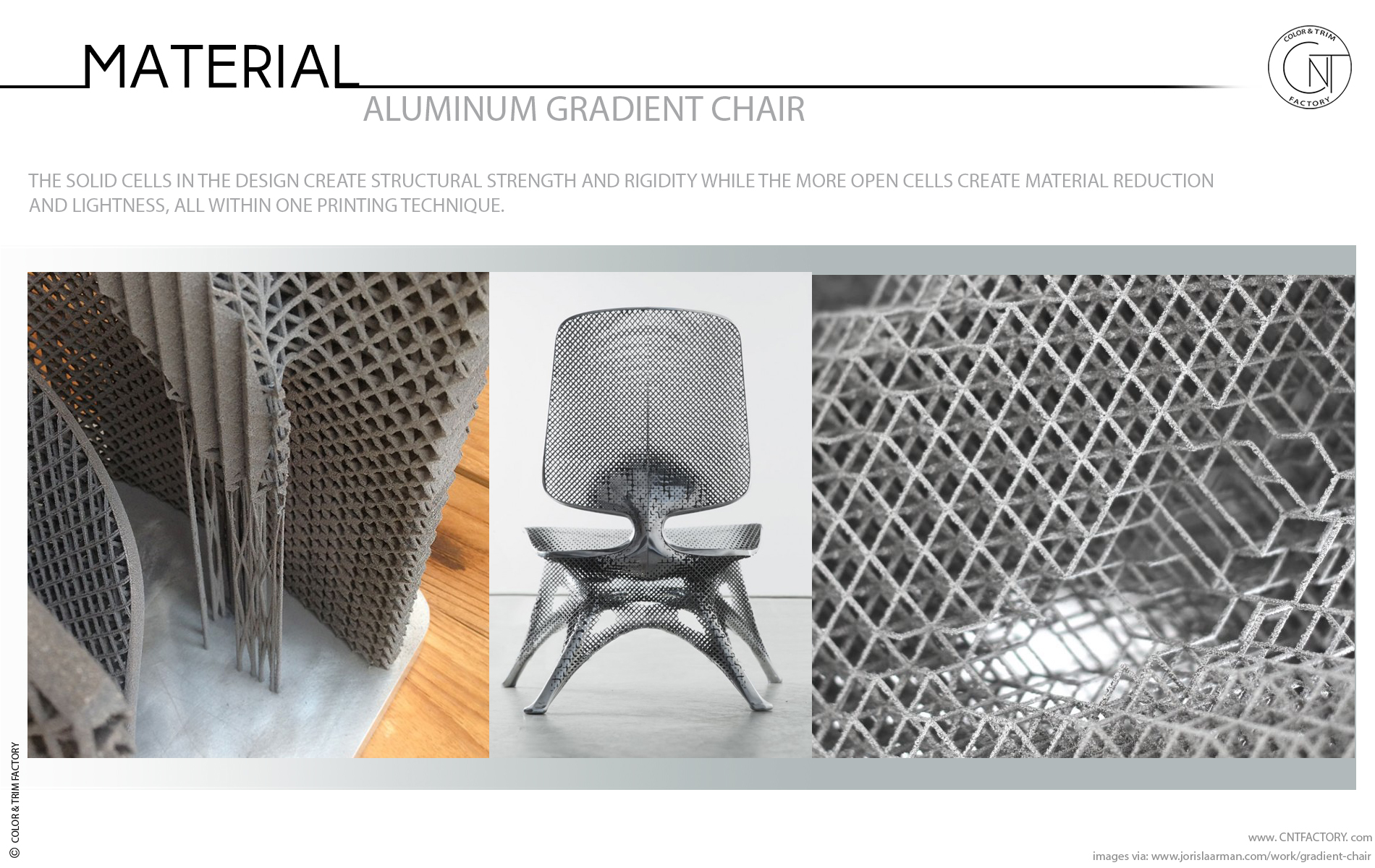 3D Printed Aluminum Gradient Chair weight reduction