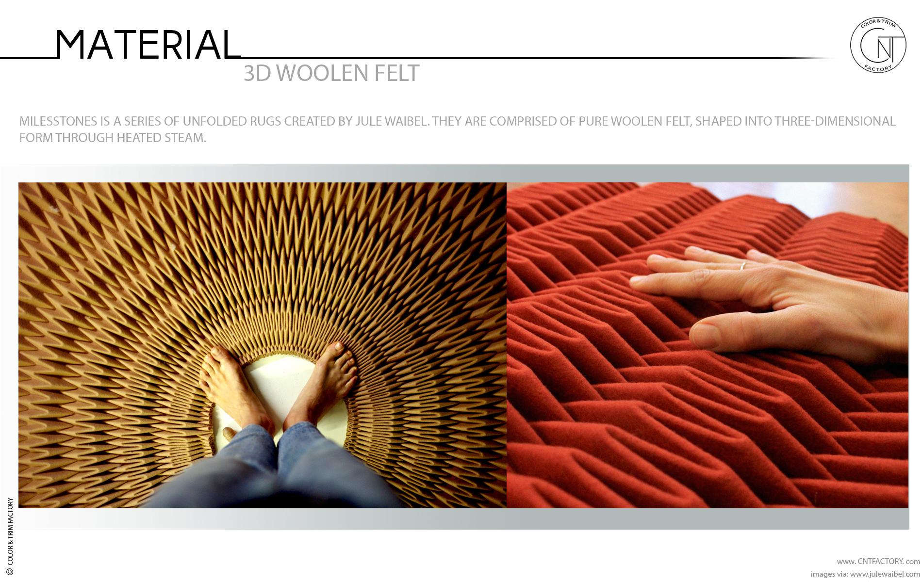 pure woolen felt shaped three dimensional form heated steam