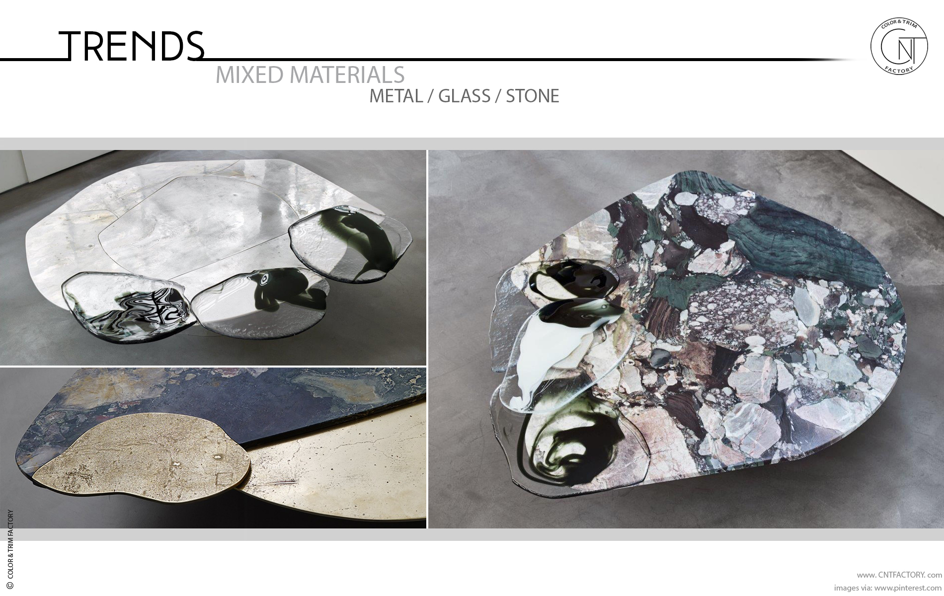 mixed materials metal glass stone automotive color trim