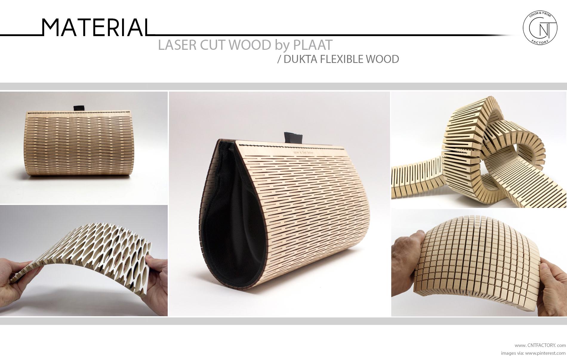 Laser cut flexible wood automotive trim design
