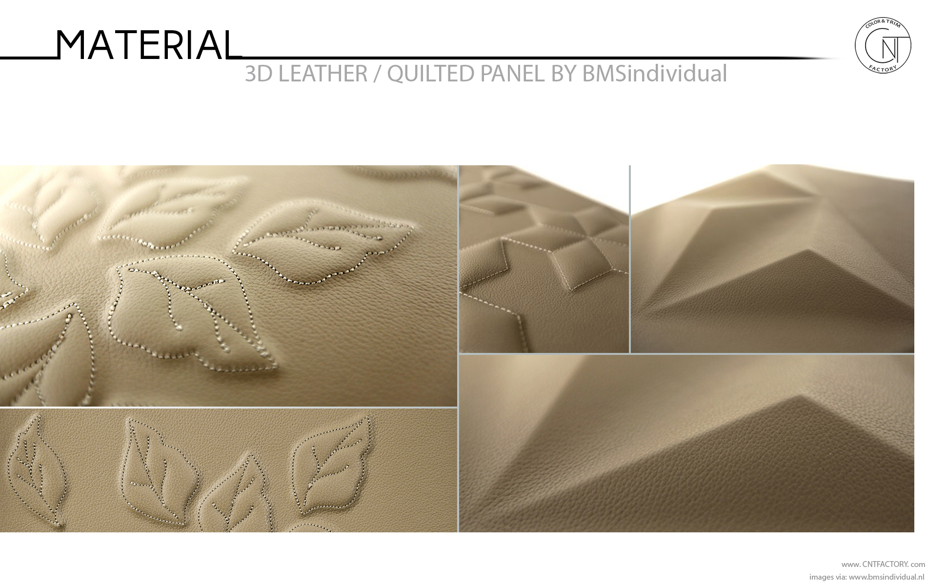 3D Leather Quilted Panels Color Materials Design