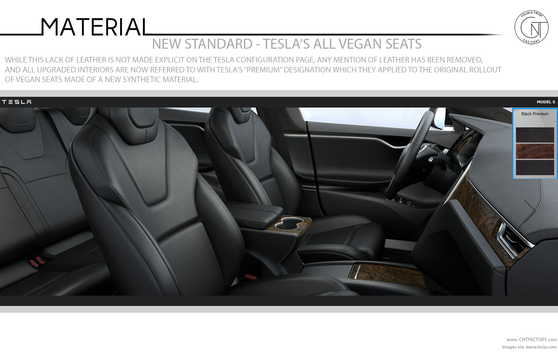 New Standard Teslas Vegan Seats