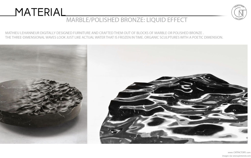 3D Liquid Marble Polished Bronze