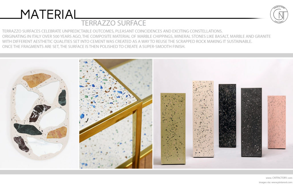 Terrazzo surface automotive trim design