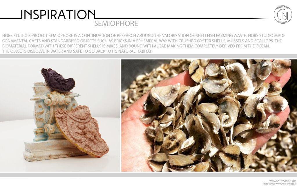 Semiophore valorisation shellfish farming waste